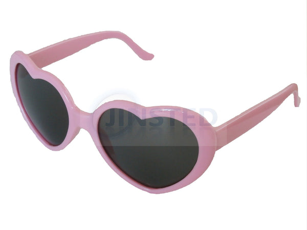 Sunglasses, Teenager / Small Adult Pink Lolita Heart Shaped Sunglasses, Jinsted