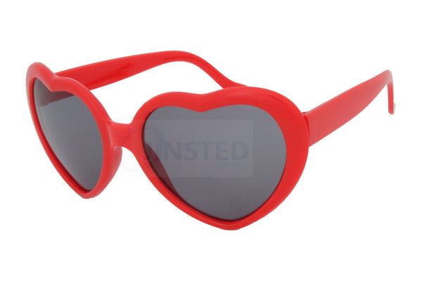 Teenager / Small Adult Red Lolita Heart Shaped Sunglasses
