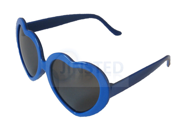 Sunglasses, Teenager / Small Adult Blue Lolita Heart Shaped Sunglasses, Jinsted
