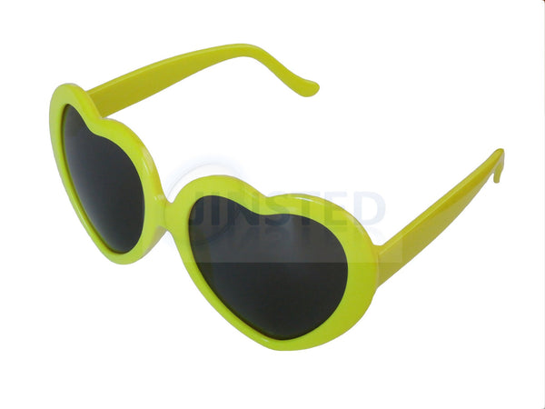 Teenager / Small Adult Lolita Yellow Heart Shaped Sunglasses TH004 Jinsted