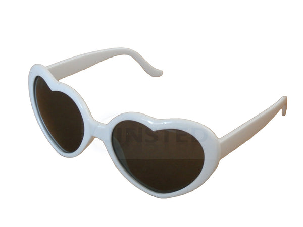 Teenager / Small Adult Lolita White Heart Shaped Sunglasses TH007 Jinsted