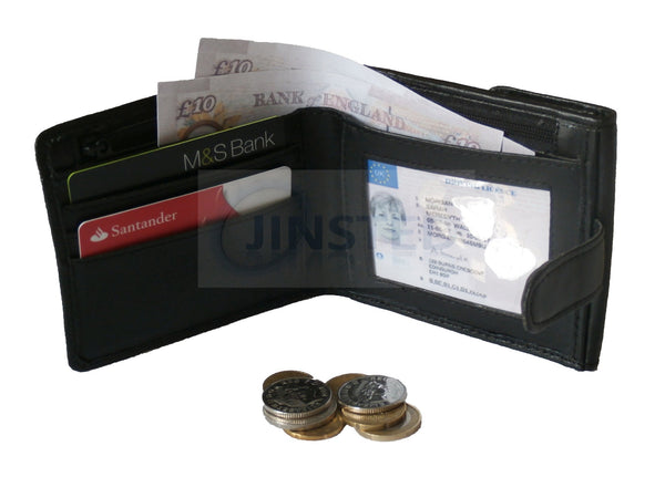 Black Leather Bi Wallet.  4 Card and 1 Note Compartment W0026 Jinsted