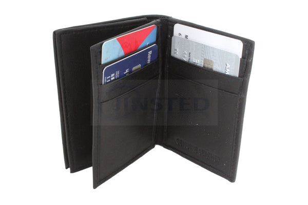 Compact Leather Bi Wallet.  11 Card and 1 Coin Compartments W0031 Jinsted