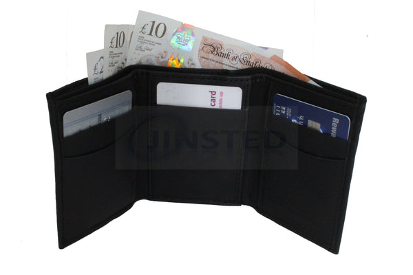 Gents Leather Wallets, Small Leather Tri Wallet.  10 Cards and 2 Note Compartment.  RFID Protection, Jinsted