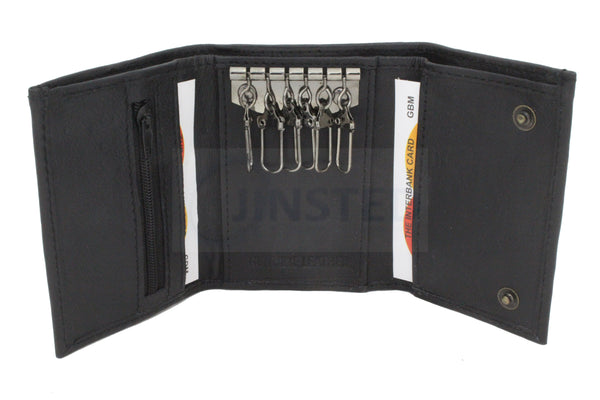 Gents Leather Wallets, Small Leather Tri Key Wallet.  6 Key Holders 1 Note Compartment, Jinsted