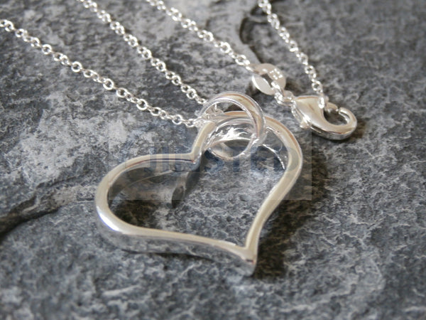 Ladies Jewellery, Silver Necklace with Large Heart Shaped Pendant, Jinsted