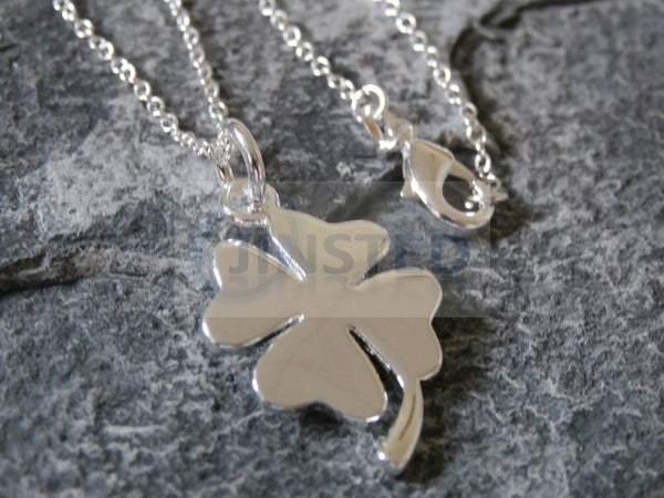 Silver Necklace with Four Leaf Clover Pendant WN002 Jinsted