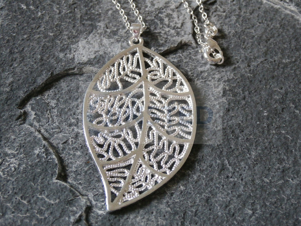 Ladies Jewellery, Silver Necklace with Large Leaf Pendant, Jinsted