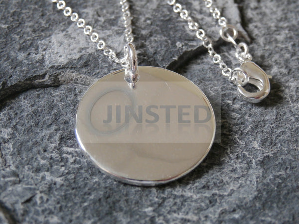Ladies Jewellery, Silver Necklace with Solid Circle Pendant, Jinsted