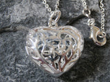 Ladies Jewellery, Silver Necklace with 3D Heart Pendant, Jinsted