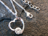 Ladies Jewellery, Silver Necklace with Heart Pendant with Gem, Jinsted