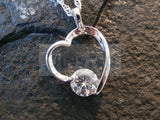 Silver Necklace with Heart Pendant with Gem WN040 Jinsted