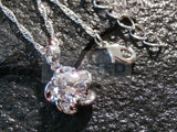 Silver Necklace with Flower Pendant with Gem WN041 Jinsted