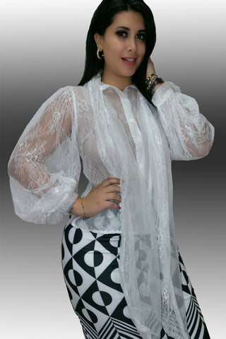 B11006 TOP (WHITE, BLK) - N by Nancy