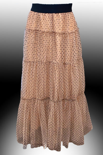 C20206 LONG DOTTED SKIRT (BEIGE, BLK)