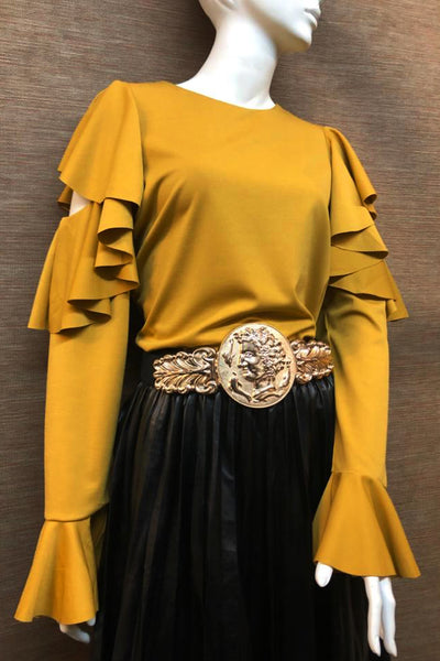 A1870 TOP (BLK, MUSTARD) - N by Nancy