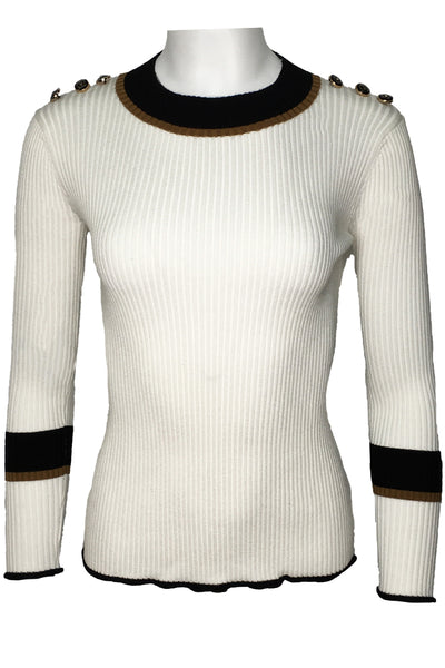 H2051 SWEATER (WHT, BLK)