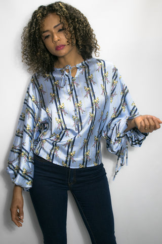 C819 PRINT TOP (blue, yellow) - N by Nancy