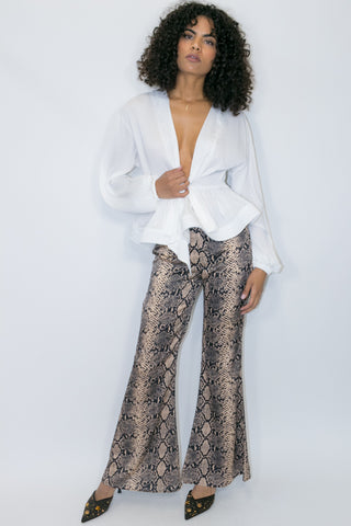 W765 SNAKESKIN FLARED PANT