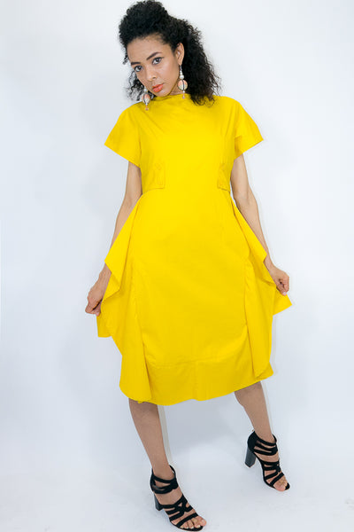 W772 DRESS (white, light mustard) - N by Nancy