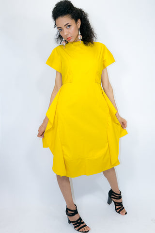 W772 DRESS (white, light mustard)