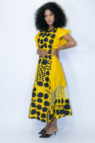 W770 PRINTED DRESS (black, yellow) - N by Nancy