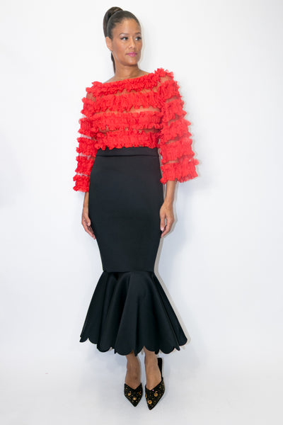 C11108 SKIRT  (red, blk)
