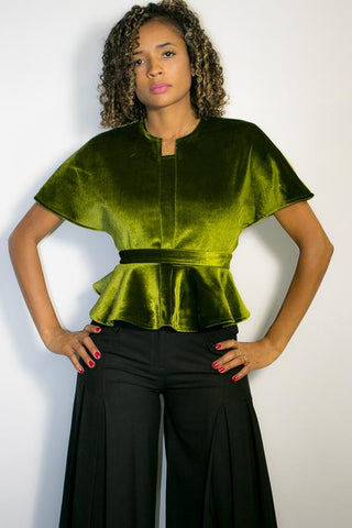 A1776 TOP w/ belt (green, blue, black) - N by Nancy