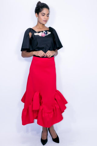 C1833 SKIRT (red, blk, royal blue) - N by Nancy