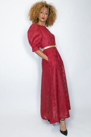 C1990 DRESS (NAVY, RED)