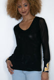 T1012 BLACK TOP W/ SLEEVE BLING (GOLD TRIM) - N by Nancy