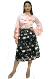 8828 BLACK/PINK PRINT SKIRT - N by Nancy