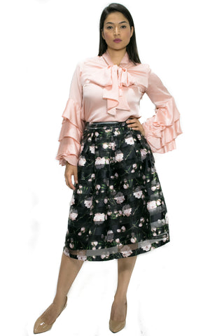 8828 BLACK/PINK PRINT SKIRT (4 FOR $50 SPECIAL)