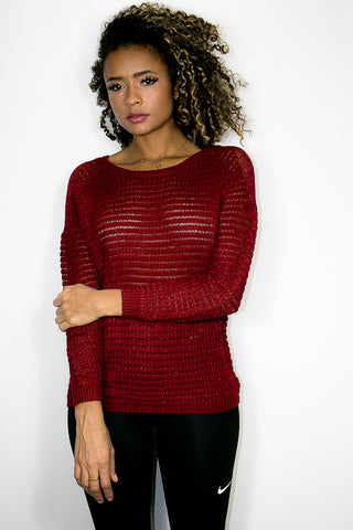 5179 SWEATER (wine, grey) - N by Nancy