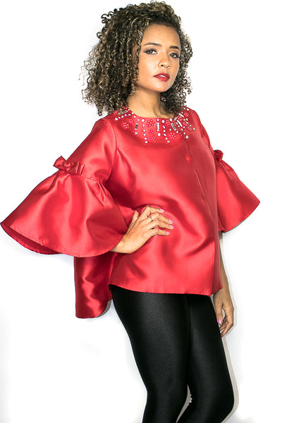 X6768 TOP / JACKET (blk, wht, red)