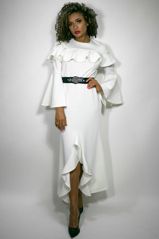 W706 DRESS (white, black)