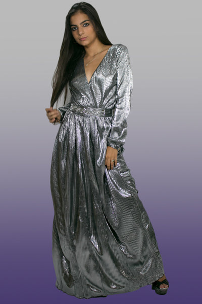 C1827 DRESS (silver, black) (small, med only)