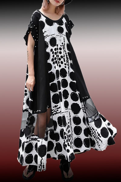 W770 PRINTED DRESS (black, yellow)