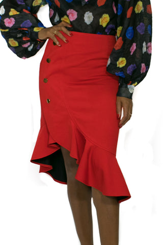 W722S SKIRT (red, black)