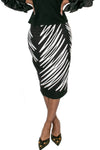Q1368 SKIRT (WHITE, BLK, YELLOW STRIPE) - N by Nancy