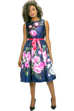 W713 FLOWER POWER DRESS (blue, apricot)