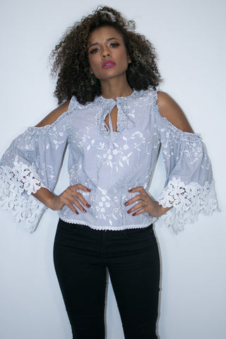 A1990 TOP  (BLUE, BLACK) - N by Nancy