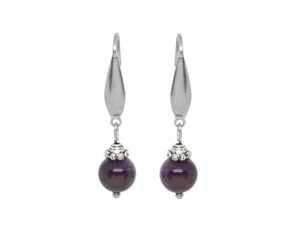 Custom Amethyst Drop Earrings, Stainless Steel