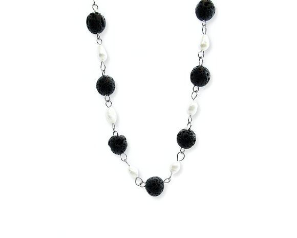 Custom Black Lava Rock Stone Beaded Necklace with Freshwater Pearls