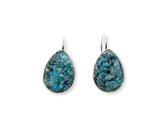Crushed Chrysocolla Teardrop Leverback Earrings