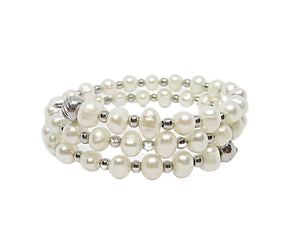 Custom Freshwater Pearl / Steel Beaded Wrap Bracelet, White Pearls