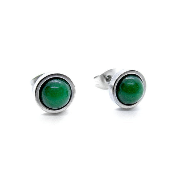 Mens Custom Green Jade Stud Earrings