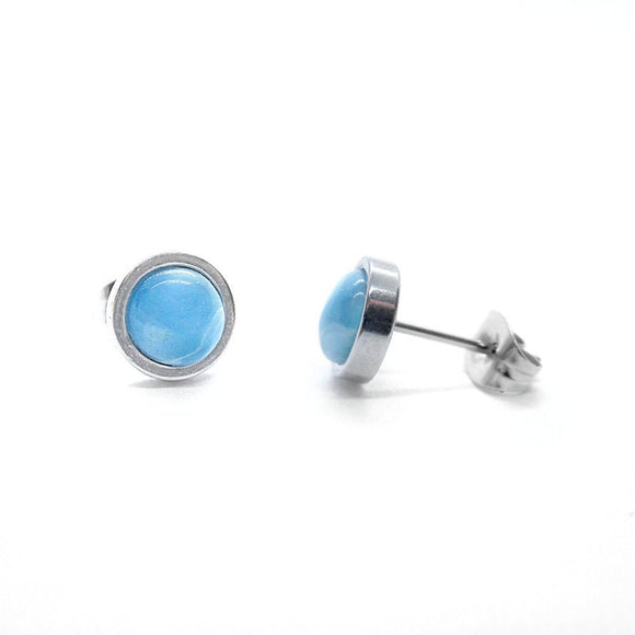 Mens Custom Larimar Stud Earrings