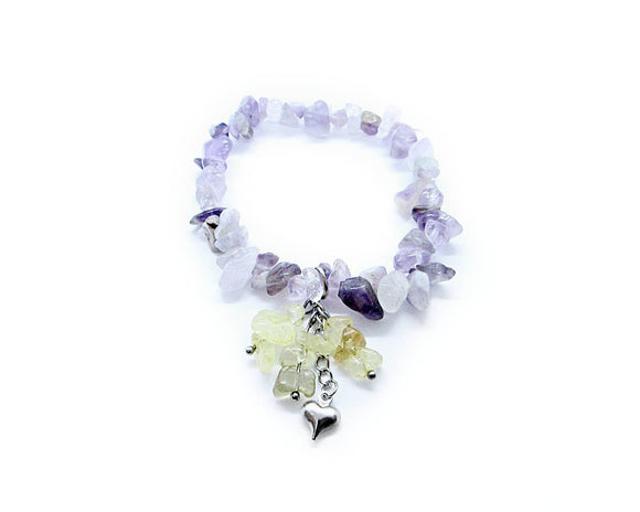 Amethyst Chip Stretch Bracelet with Citrine Chips Heart Charm