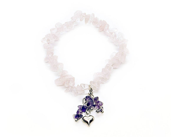 Custom Rose Quartz Chip Stretch Bracelet, Amethyst Chips Dangle Heart Charm